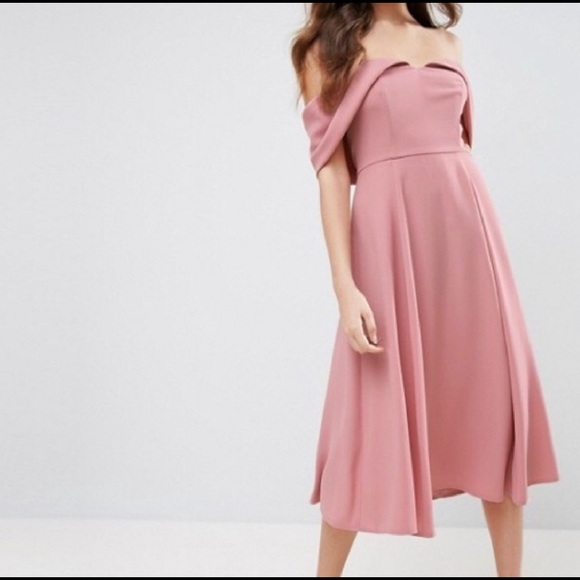 official store largest selection of the best ASOS dusty rose pink off-the-shoulder dress NWOT